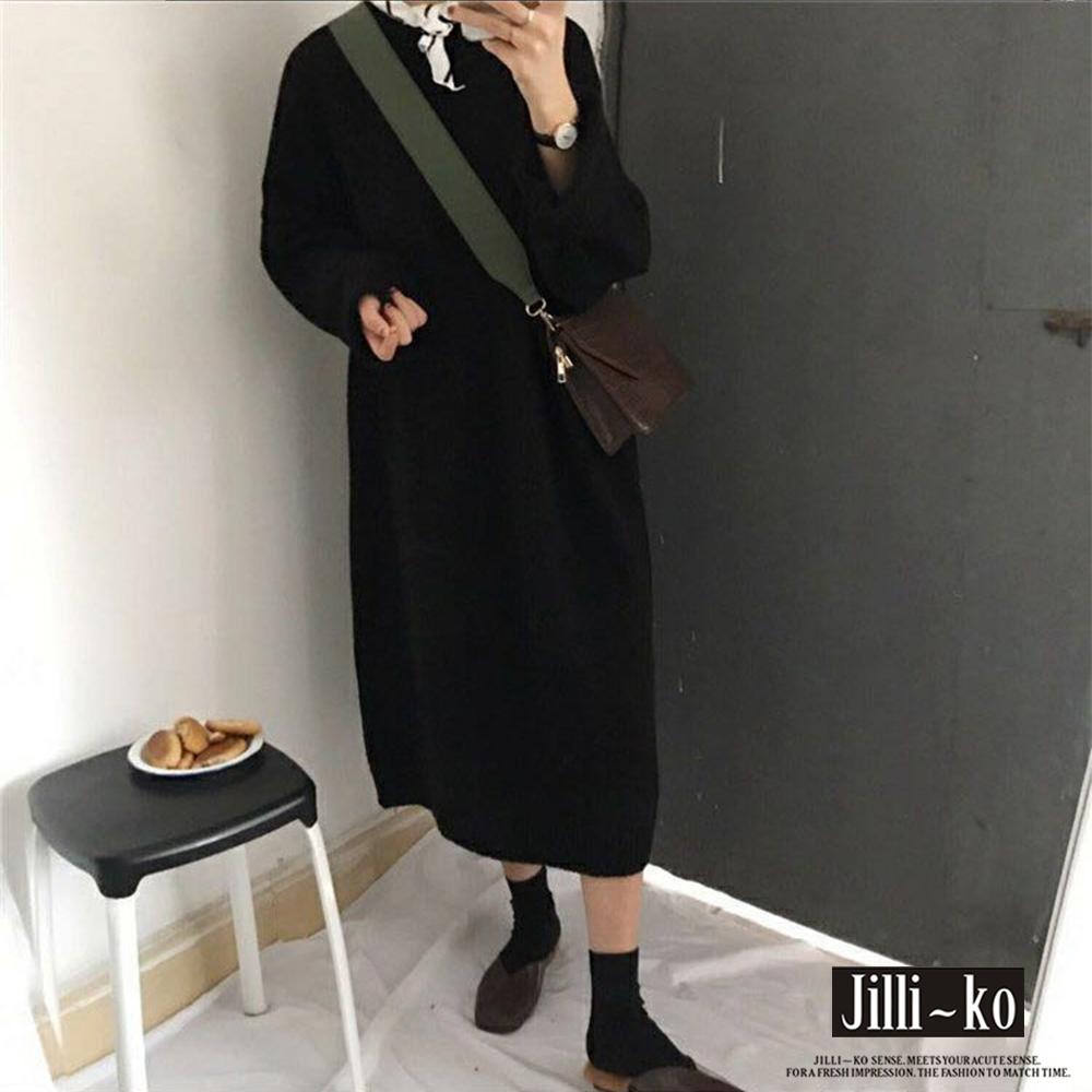 JILLI-KO 韓版寬鬆針織連衣裙- 黑/灰