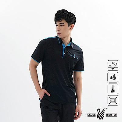 【遊遍天下】男款吸濕排汗抗UV機能POLO衫GS1039黑藍