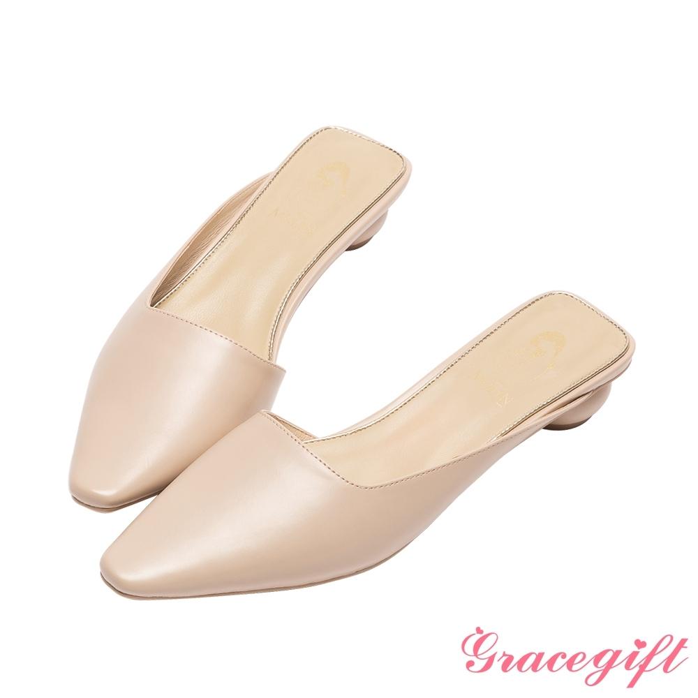 Disney collection by grace gift-花木蘭微方頭穆勒圓跟跟鞋 杏