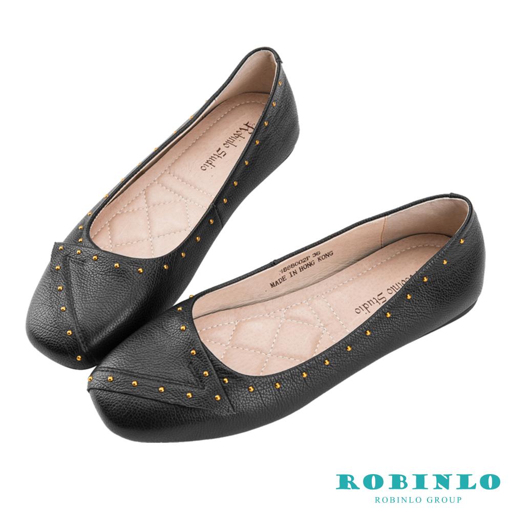 Robinlo 簡約名媛質感鉚釘方頭娃娃鞋 黑