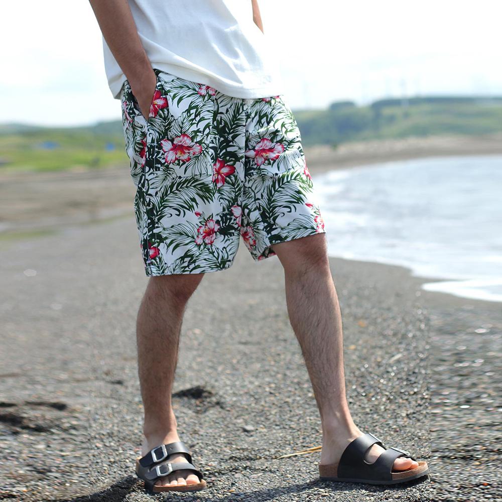 海灘褲5分褲膝上印花素色短褲(15色)  ZIP日本男裝