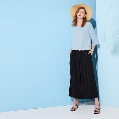【MASTINA】全鬆緊打褶寬版-女長褲(二色/版型適中)