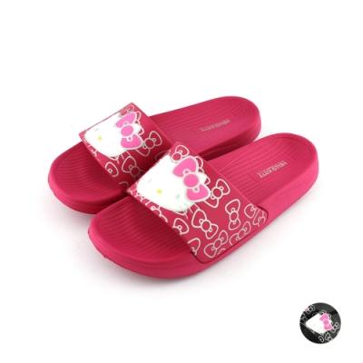 HELLO KITTY艾樂跑女鞋-輕量一片式拖鞋-桃紅/黑(915056)