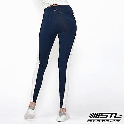 STL legging 9 韓 女 高腰側邊條運動機能拉提褲 高調海藍