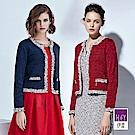 ILEY伊蕾 小香風織蔥短版針織外套(藍/紅)