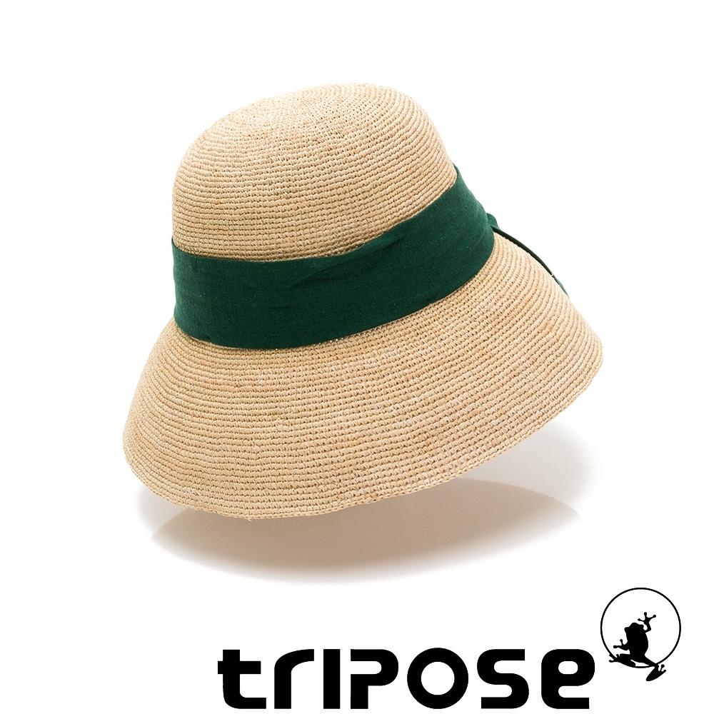tripose AVA 100% Raffia手工拉菲草帽(飾帶-綠)