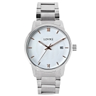 LOVME 紳士質感不鏽鋼日期窗手錶-白/43mm