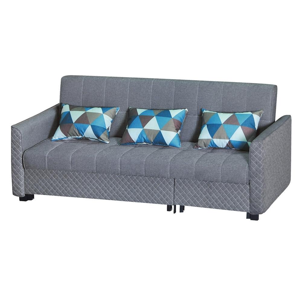 綠活居 卡麥隆灰棉麻布多功能沙發/沙發床(拉合式機能設計)-212x181x65cm免組