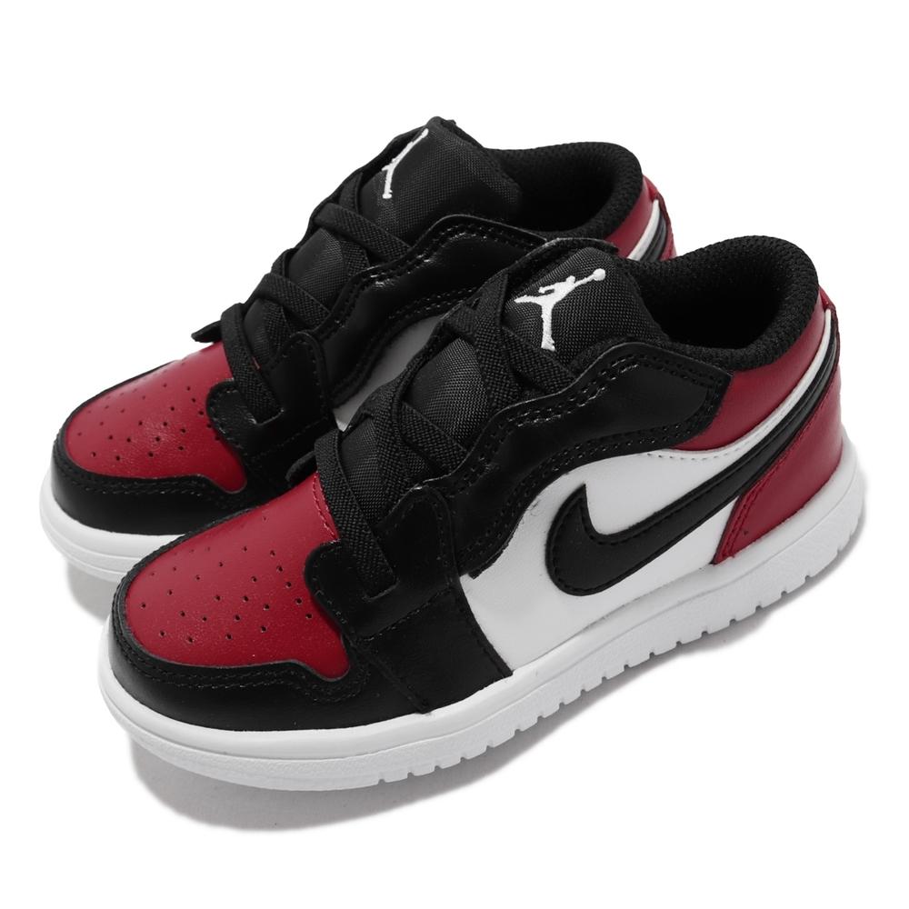 Nike 休閒鞋 Jordan 1 Low ALT TD 童鞋 經典 喬丹一代 魔鬼氈 舒適穿搭 小童 黑白紅 CI3436-612