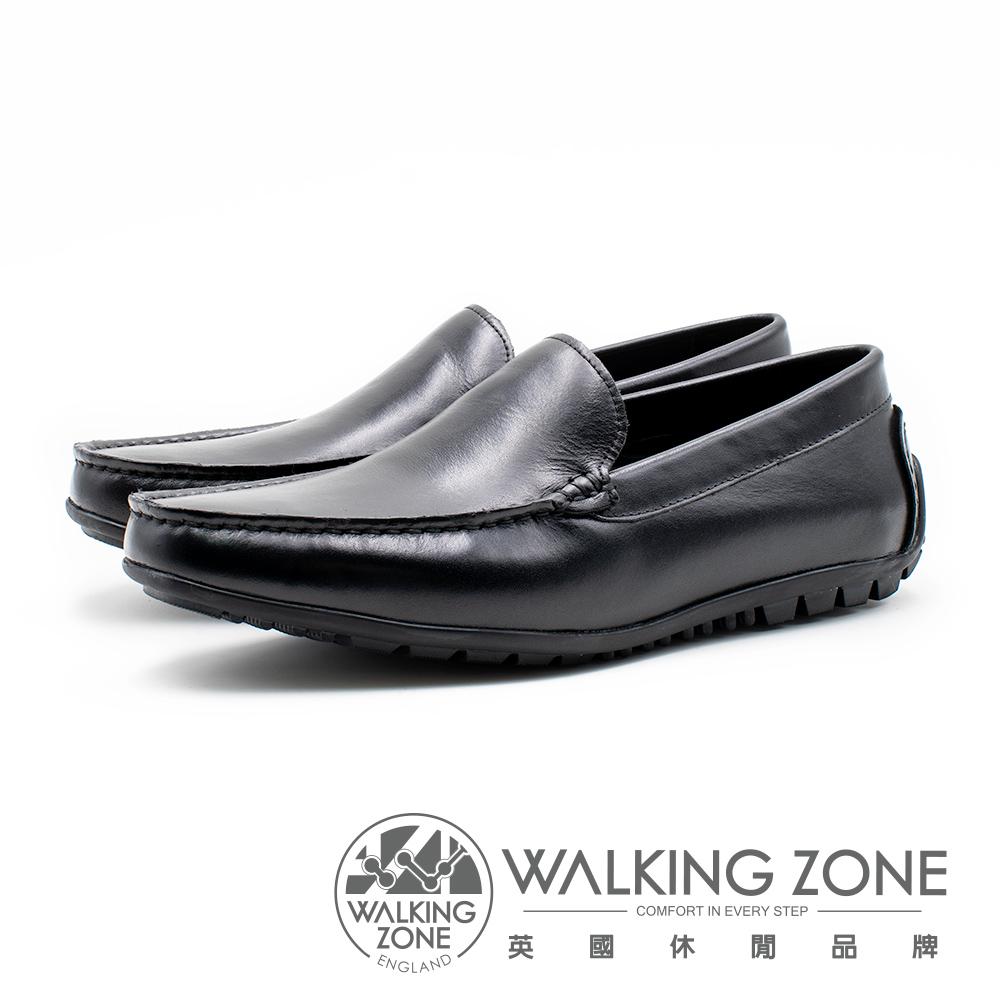 WALKING ZONE 全皮革直套開車樂福鞋 男鞋 - 黑(另有咖)