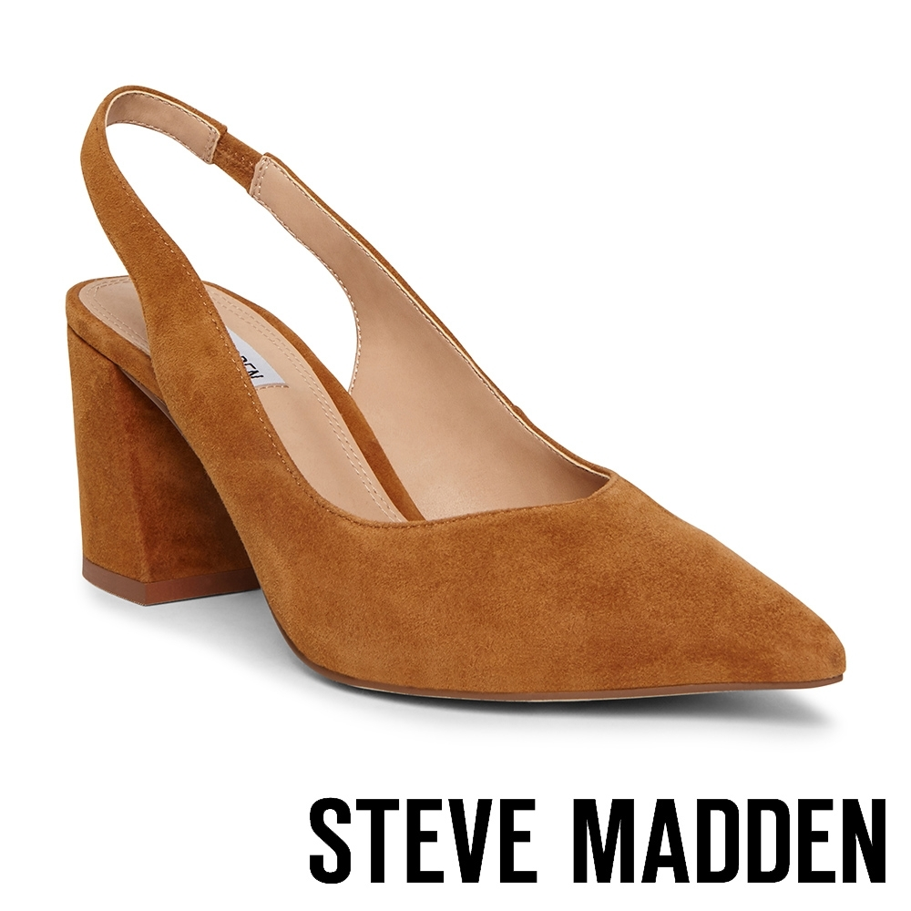 STEVE MADDEN-SLINGBACK 麂皮尖頭繞踝粗跟高跟女鞋-咖啡色