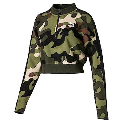 PUMA-女性流行系列野地迷彩T7圓領衫-深林綠-歐規