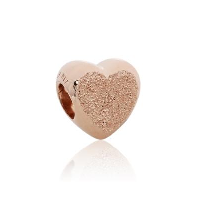 Pandora 潘朵拉 鍍14k玫瑰金啞光愛心 純銀墜飾 串珠