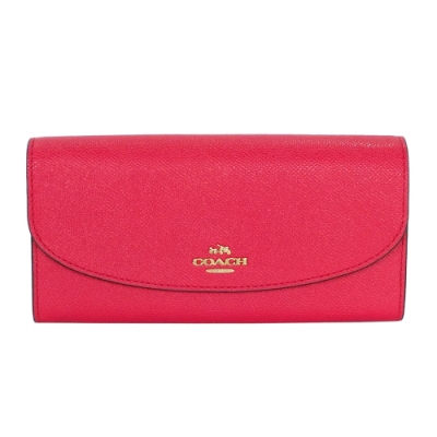 COACH莓紅色防刮皮革金字飾牌內拉鍊袋雙摺長夾