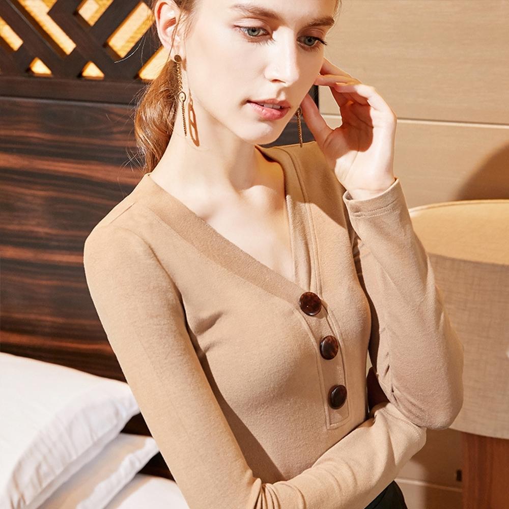 專注內搭-內搭長袖磨毛T恤鈕釦V領上衣(二色S-3XL可選)