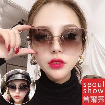 seoul show首爾秀 無框水晶切邊鑲鑽太陽眼鏡UV400墨鏡 9027