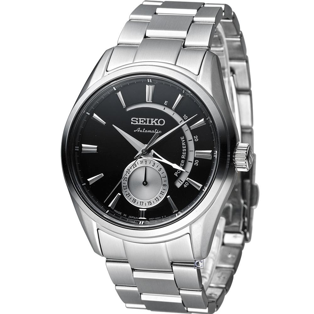 精工 SEIKO Presage 中央動力儲存顯示機械腕錶(SSA305J1)-黑