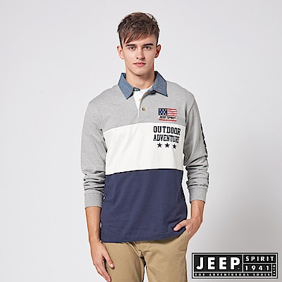 JEEP 探險世界刺繡圖騰長袖POLO衫 -灰色