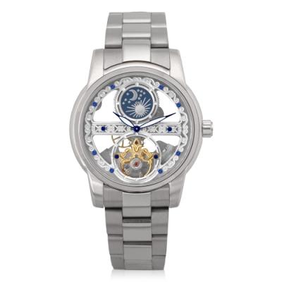 HYUN炫 日月星辰鋼帶精品錶-白鋼