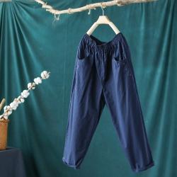 純棉寬鬆顯瘦百搭薄九分哈倫褲子五色可選-設計所在