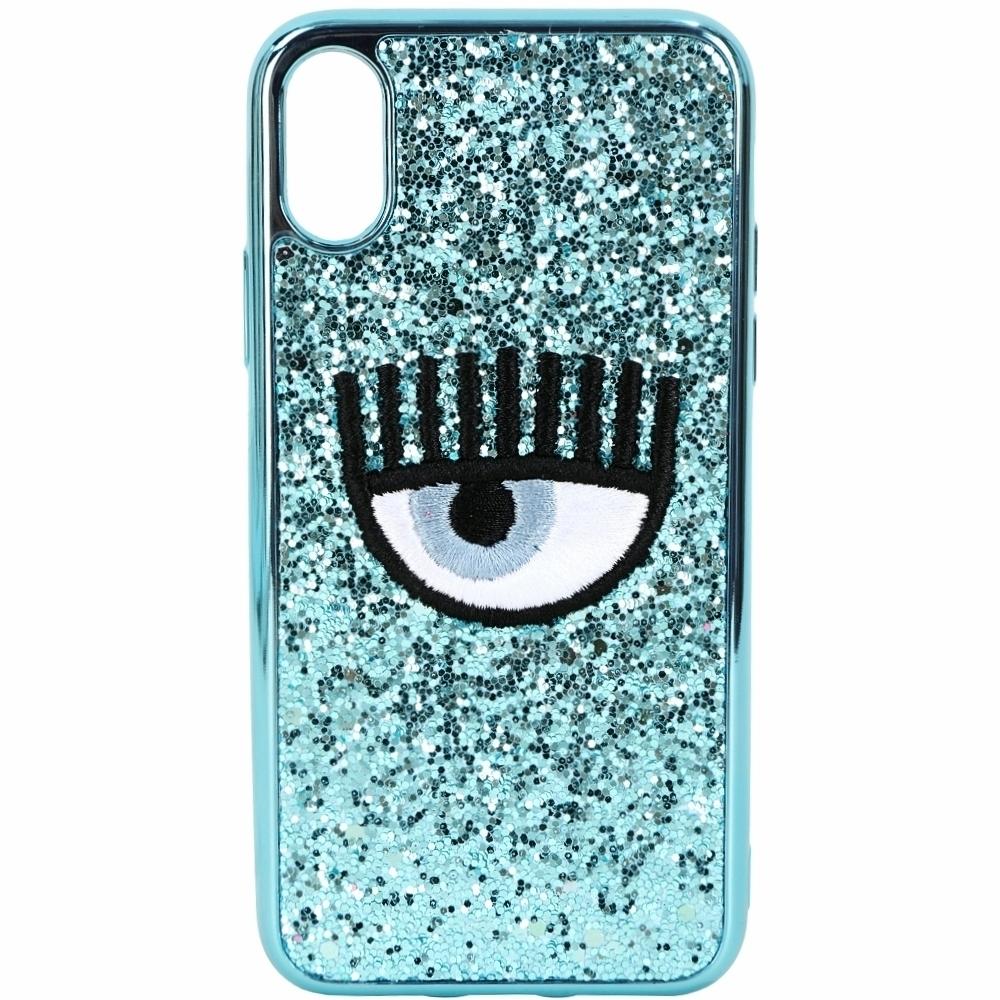 Chiara Ferragni 刺繡眼睛天空藍亮片iPhone X手機殼(5.8吋)
