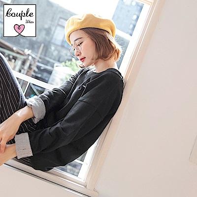 情侶系列~字母刺繡袖反褶寬領上衣-OB大尺碼