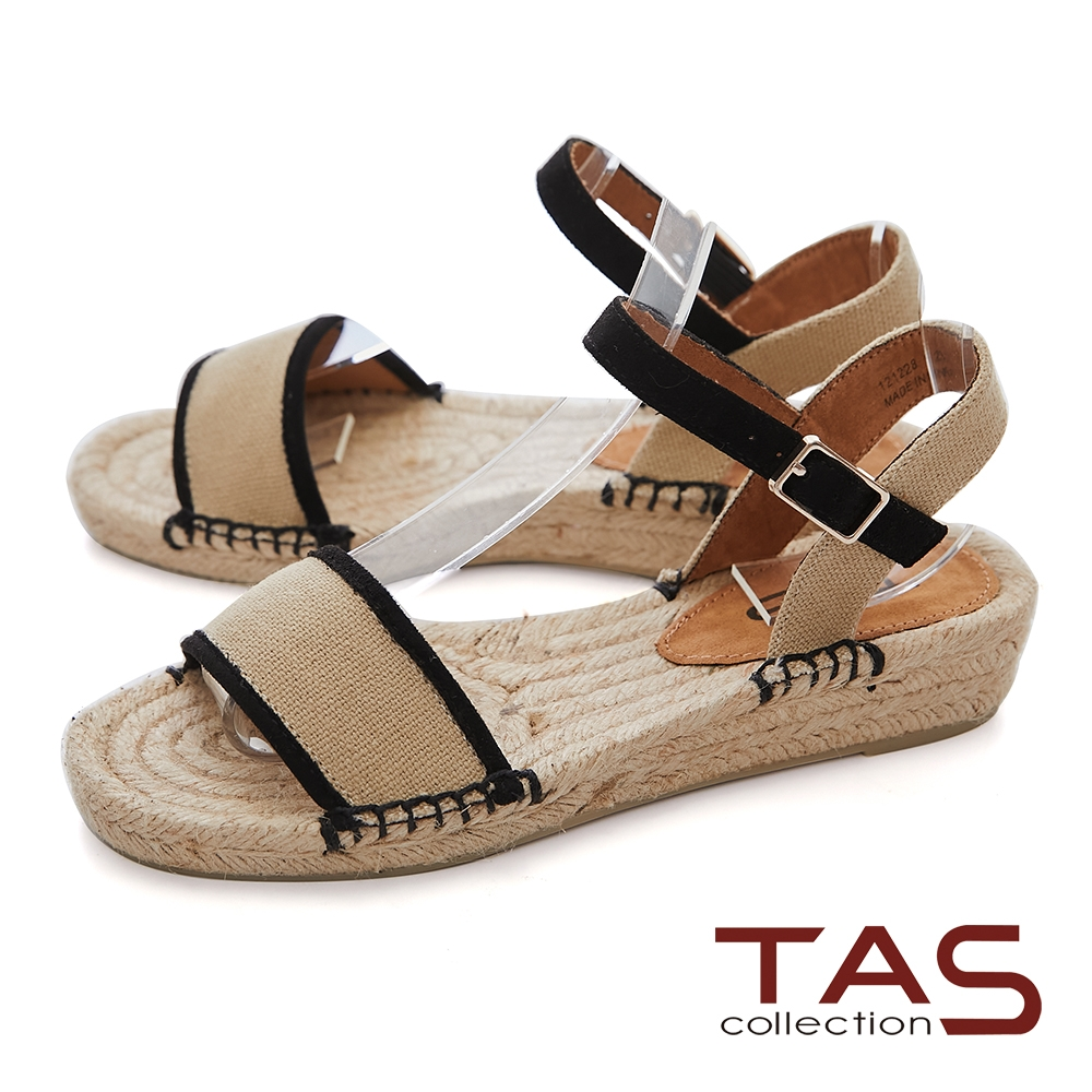 TAS絨布一字厚底草編涼鞋-百搭米