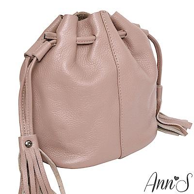 Ann'S有點帥氣時-真牛皮mini流蘇水桶包-粉