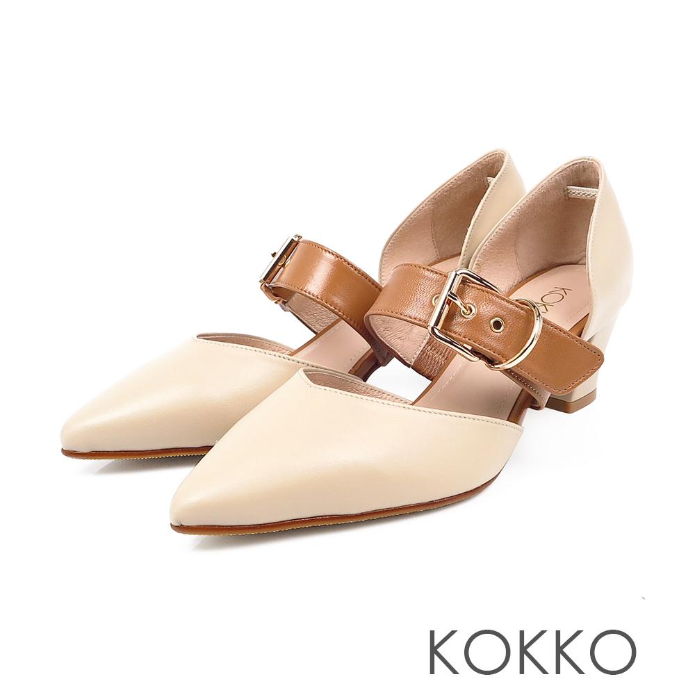 KOKKO - 艾菲爾鐵塔手工飾帶撞色粗跟鞋-微醺米
