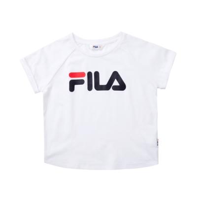 FILA KIDS 女童短袖圓領T恤-白色 5TET-4509-WT