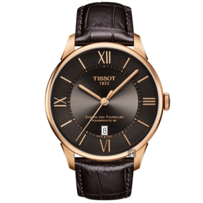 TISSOT天梭 杜魯爾系列動力80小時機械錶-咖啡x玫塊金框/42mm