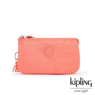 Kipling 俏皮珊瑚橘三夾層配件包-CREATIVITY L