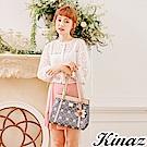 KINAZ 銀白長廊兩用斜背托特包-蘋果花系列