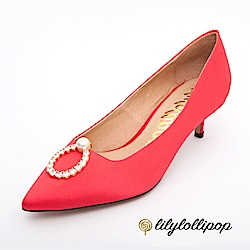 Lilylollipop-Luxury 珍珠環緞面跟鞋--亮紅色