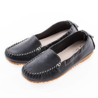 G.Ms. MIT系列-厚實牛皮莫卡辛休閒鞋-黑色
