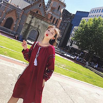 復古民族風刺繡棉麻洋裝-S~XL(共二色)-維拉森林