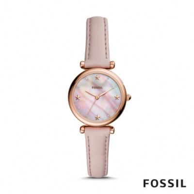 FOSSIL CARLIE MINI 粉色星星迷你皮革女錶