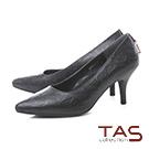 TAS小D綴飾菱格壓紋羊皮尖頭高跟鞋-經典黑