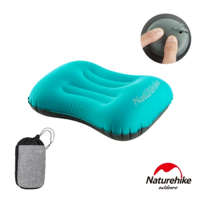 Naturehike 按壓式 超輕便攜戶外旅行充氣睡枕 靠枕 孔雀藍-急