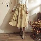東京著衣-YOCO 浪漫柔美光澤感腰鬆緊一片式不規則裙(共二色)