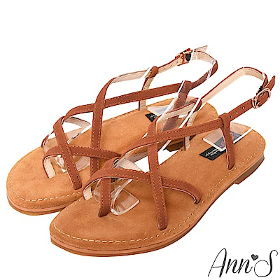 Ann'S水洗牛皮-美式女孩夾腳寬版平底涼鞋-棕