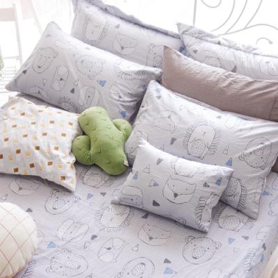 OLIVIA  動物躲貓貓 灰  標準單人床包美式枕套兩件組 200織精梳純棉 台灣製