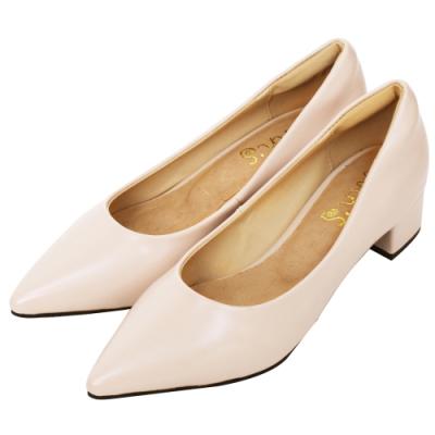Ann'S加上優雅低跟版-復古皮革沙發後跟低跟尖頭鞋-粉