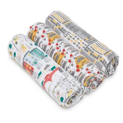 美國aden+anais  輕柔新生兒包巾(3入)-都市速寫系列WL2012