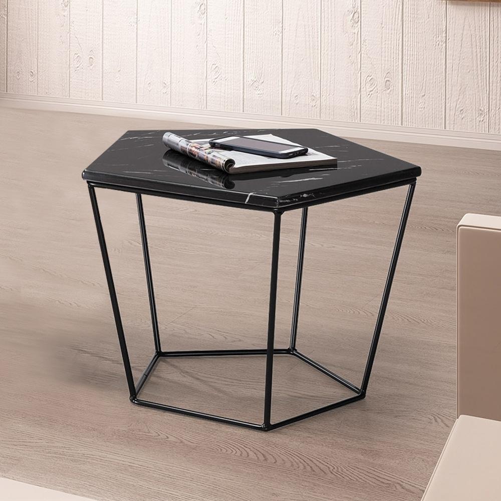 Boden-菲斯1.8尺石面五角小茶几/邊桌-黑色-55x55x42cm