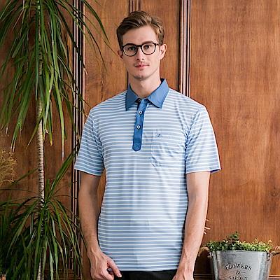 PAUL MAURIAT波爾.瑪亞吸溼排汗短袖POLO衫-藍橫紋 @ Y!購物