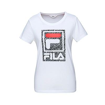FILA 女款短袖圓領T恤-白色 5TET-1519-WT