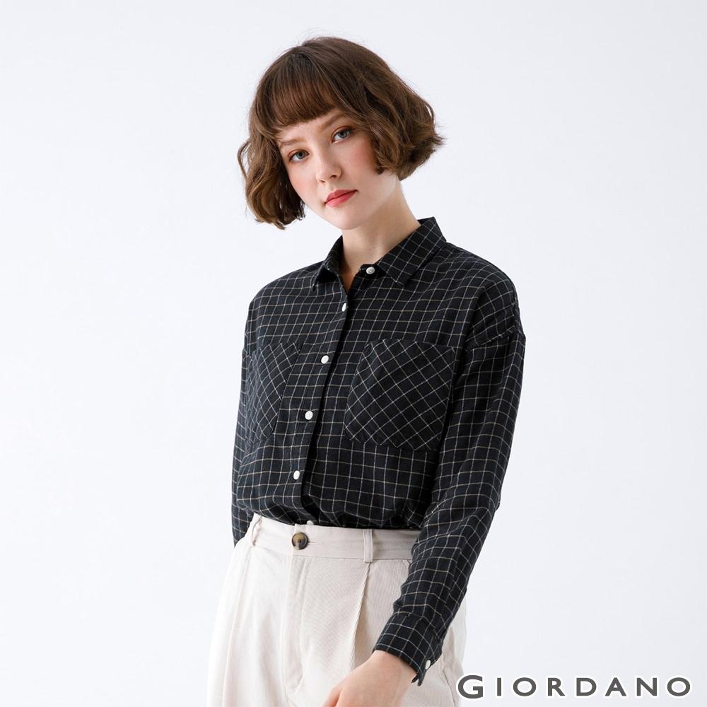 GIORDANO   女裝法蘭絨磨毛長袖襯衫 - 01 黑/白/咖