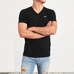 海鷗 Hollister HCO 經典刺繡標誌V領素面短袖T恤-黑色