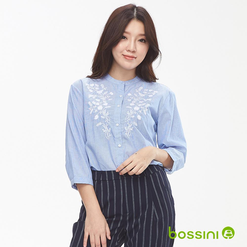 bossini女裝-無領七分袖襯衫01天藍